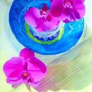 Orchids and a Blue Bowl