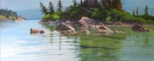 """Rocks and Reflections"" is part of the virtual FCA show that runs from March. 2nd to March 31st.I won third place in the show which is an honour.the show can be seen at www.artists.ca"